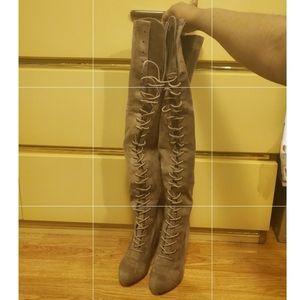Taupe Suede Knee High Boots